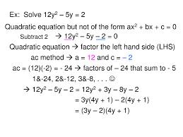 Ac Method Mathematics Quadratic Equation Powerpoint Slides