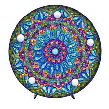 Stained Glass Night Light Kits Steeottpe Mandala 5d Diamond Diy Night Light 5d Full Drill Crystal Diamond Painting Kit With Led Night Light For Home Decoration Or Gifts 2