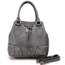 Coach Drawstring In Stud Medium Grey Satchels BDQ