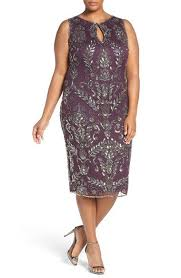Pisarro Nights Embellished Tea Length Sheath Dress Plus