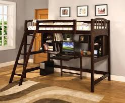 Here's another bed with rich dark stained wood construction. The desk  component is fully equipped