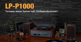sound system with turntable. lp-p1000 - turntable stereo system with cd, radio \u0026 bluetooth; sound e