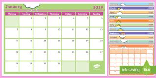 2019 Monthly Calendar Planning Template Monthly Calendar