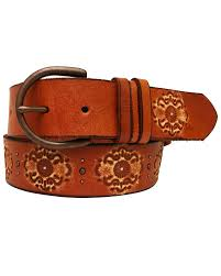 zoomed image cowgirls rock women s embossed studded leather belt tan hi res