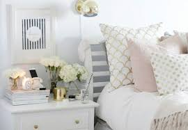 White with pink, grey and gold accents | Klaasvakie | Gold bedroom ...