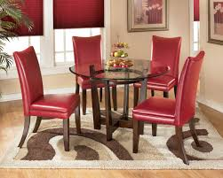 See more ideas about round dining table, dining table, round dining. Ashley Furniture Signature Design Charrell D357 15 4x03 5 Piece Round Dining Table Set With Red Chairs Del Sol Furniture Dining 5 Piece Sets
