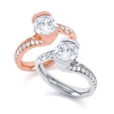 maevona perth elegant twist white or rose gold shank available plain or with a pave diamond channel preferred jewelers international