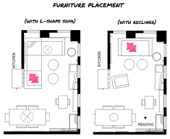 9 Ada Gonzalez furniture placement layout for living room with l shape sofa  and chair recliner