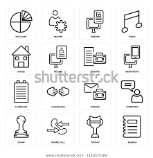 Set 16 Icons Such Agenda Trophy Stock Vector Royalty Free