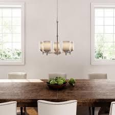beautiful hampton bay burbank 5 light brushed nickel chandelier dual glass shade