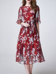 Unique Designer Dresses Online Shop Midi Dresses Red Elegant Crew Neck Floral Midi Dress