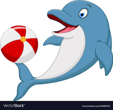 playing cartoon happy dolphin cartoon playing ball royalty free vector image
