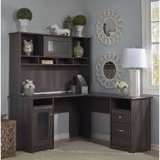 cool l shaped computer desk with hutch cabot espresso oak l shaped desk with hutch free today