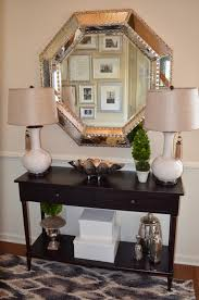entryway console table. Foyer Decor With Entryway Console Table And Large Silver Mirror T