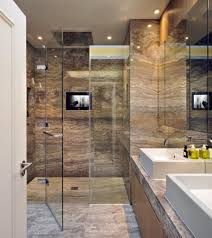 Marble Bathrooms White Marble Bathrooms Square Brown Stained Wooden Frame Glass