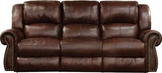messina walnut leather lay flat power reclining sofa with lumbar support main image