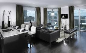 small modern furniture. Furniture: Elegant Modern Furniture For Small Apartments Black Stained Wood Flooring Design Leather Sofa In White Living Room Wall Paint Color O