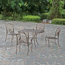 international caravan sun ray 5 piece bronze metal frame patio dining set