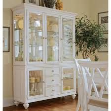 modern wooden china cabinet and buffet in white theme with glass doors and three drawers