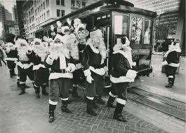 twenty santas make their way to san francisco s hyatt regency to attend a training session in 1987