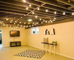 Image Ceiling String Lights On The Ceiling For Extra Basement Lighting What Basement Couldnt Use Extra Light 20 Budget Friendly But Super Cool Basement Ideas Pinterest String Lights On The Ceiling For Extra Basement Lighting What