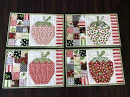 Strawberry Quilted Placemats Country Table Setting Set of 4 & Like this item? Adamdwight.com