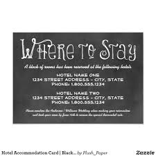 Hotel Accommodations Cards Hotel Accommodation Card Black Chalkboard Charm Wedding