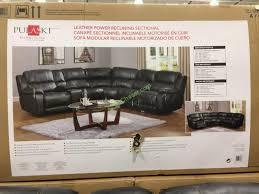 costco 1049291 pulaski furniture leather power reclining sectional box