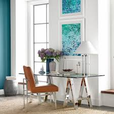 glass top office table chic. Glass Top Sawhorse Desk Design Ideas Stylish Home Office Furniture Table Lamp Leather Chair Chic