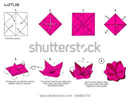 Paper Folded Flower Origami Traditional Flower Lotus Diagram Instructions Stock