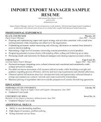 Import Export Specialist Sample Resume Adorable Import Export Resume Sample Manager Format Mysetlistco
