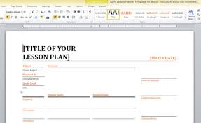 Ms Word Lesson Plans Ms Word Teacher Lesson Plan Template Daily Lesson Planner Template