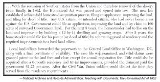 history tunes homesteaders according to this document how did the homestead act encourage the settlement of the west thematic essay 1