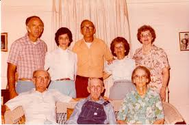 edward bascom bud barnes overalls seated celebrates father s day 1984 with his wife bessie cullifer barnes on his left with chidren his son