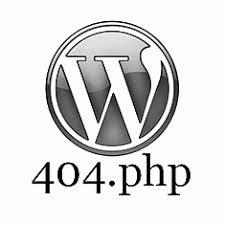 A WordPress Logo with 404.php below it.