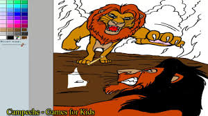 Small Picture Lion King Online Coloring Pages adult Simba versus Scar 159