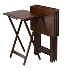 winsome wood snack table antique walnut finish set of 4