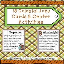 colonial jobs cards worksheets social studies and writing lessons colonial jobs cards