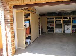 garage storage rackswith brick wall