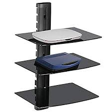 Floating Shelves To Hold Cable Box Mesmerizing Popamazing 32 Tier Black Glass TV Floating Shelves Wall Mount Bracket