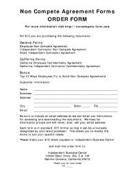 22 Printable Noncompete Agreement Forms And Templates