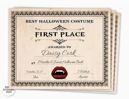 First Place Certificate Impressive Halloween Award Halloween Costume Certificate 48st Place Etsy