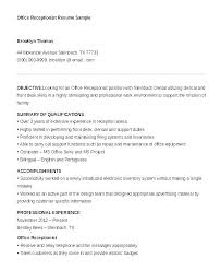 Resume For Receptionist Position Stunning Receptionist Sample Of Resume Cover Letter For Medical Mmventuresco