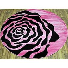 pink and black rug. T1015 Pink Black White 6 Feet 5 Inch Diameter Round Modern Area Rug Carpet And U