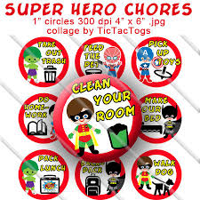 Printable Superhero Chore Chart Behavior Reward Boys Bottle Cap Images