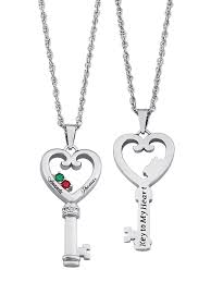 personalized planet jewelry family jewelry personalized couple s name birthstone heart key diamond accent necklace com