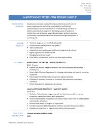 maintenance technician resume samples templates and tips online maintenance technician resume
