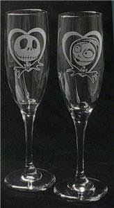 Simply Meant to Be Jack and Sally Flutes - Glassware - Toasting Flutes - Nightmare  Before Christmas - Glasses - Wedding - Sugar Bee Etching | Pinterest ...