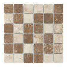 style selections mesa mixed rust and beige glazed porcelain listello tile common 12
