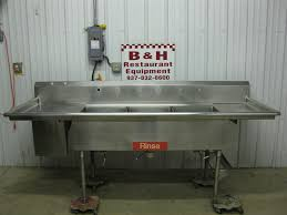 stainless steel 3 bowl compartment sea food fish cleaning sink w drain 052 9